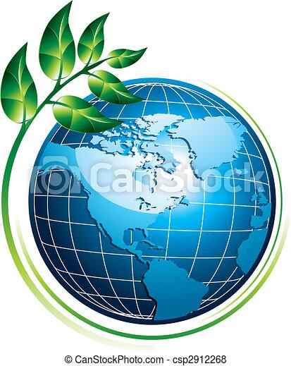 Blue globe with plant - csp2912268