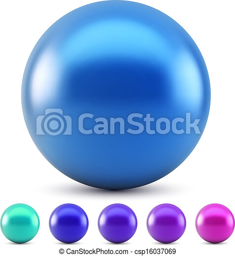 Blue glossy ball vector illustration isolated on white background with cold colors samples. - csp16037069