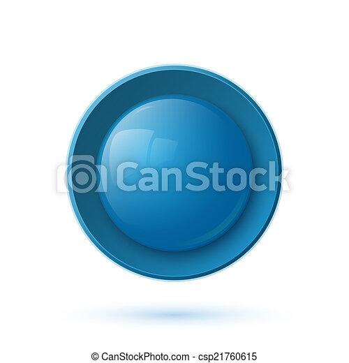 Blue glossy button icon - csp21760615