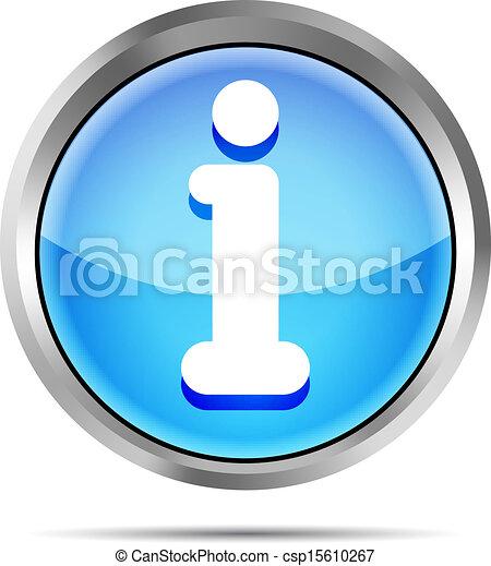 blue glossy round info icon button - csp15610267
