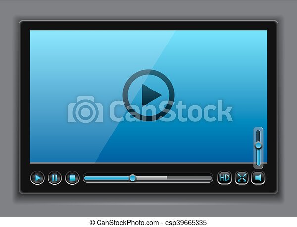 Blue glossy video player template - csp39665335