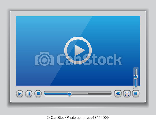 Blue glossy video player template - csp13414009