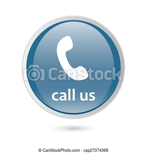 blue glossy web icon. call us icon phone sign. - csp27074368