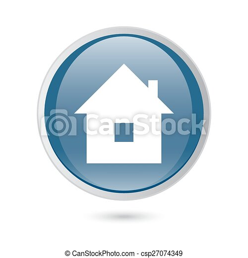 blue glossy web icon. home icon, - csp27074349