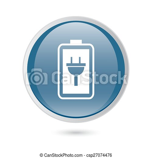 blue glossy web icon. Simple battery icon. Battery charge icon - csp27074476