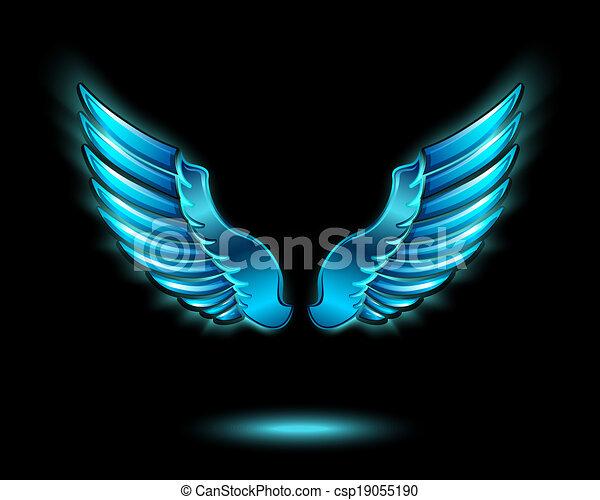 Blue glowing angel wings - csp19055190