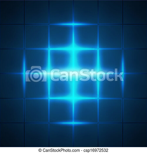 Blue glowing grid squares abstract background - csp16972532