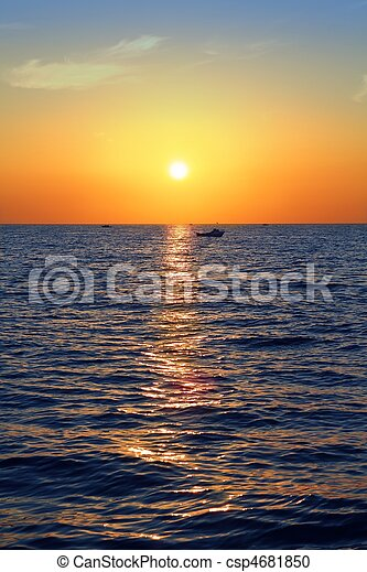 blue golden sunrise seascape sea ocean red sky - csp4681850