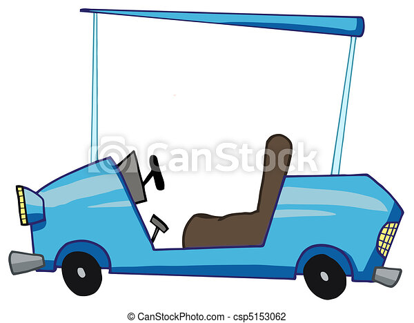 Cartoon Blue Golf Cart