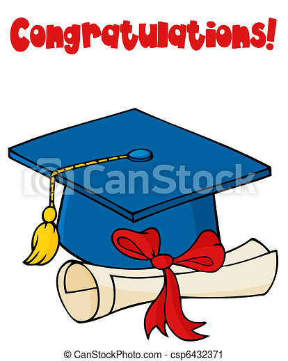 blue graduate cap with diploma blue graduation cap and vector rh canstockphoto com free clipart graduation cap and diploma Cap and Diploma Clip Art Black and White