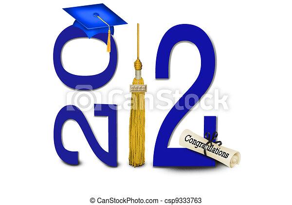 Blue Graduation Cap - csp9333763
