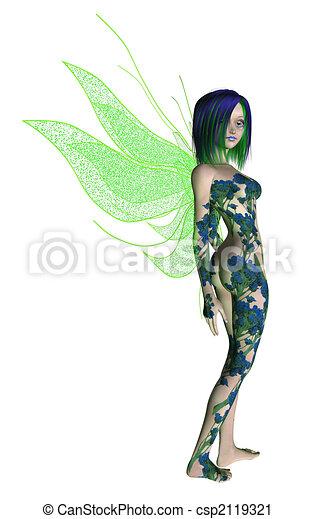 Blue Green Flower Fairy - csp2119321