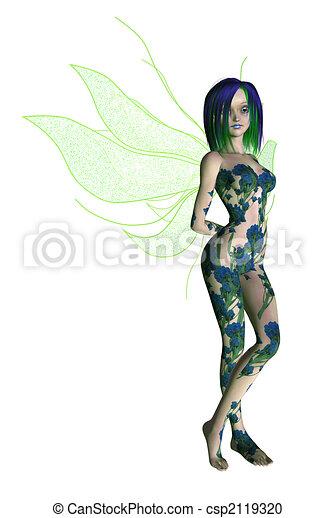 Blue Green Flower Fairy - csp2119320
