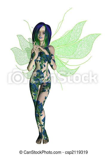 Blue Green Flower Fairy - csp2119319