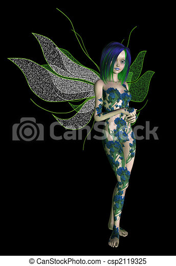 Blue Green Flower Fairy - csp2119325