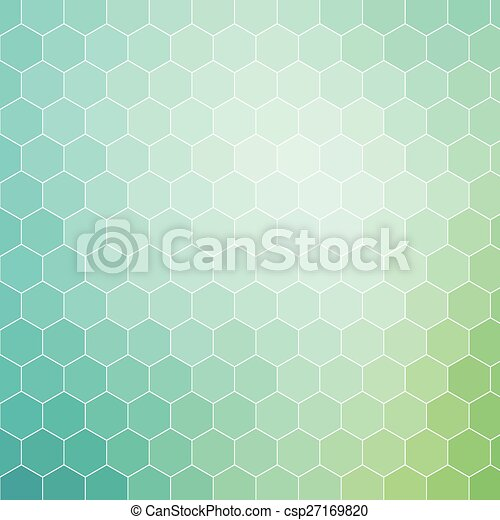 Blue green hexagon pattern background with white outline - csp27169820