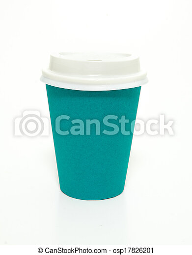 Blue green to go coffee cup - csp17826201