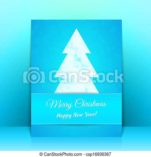 Blue Greeting card background with Christmas tree - csp16936367