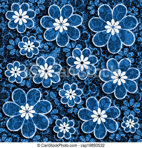 Blue Grunge Flower Scrapbook Paper Blue Toned Floral Scrapbook