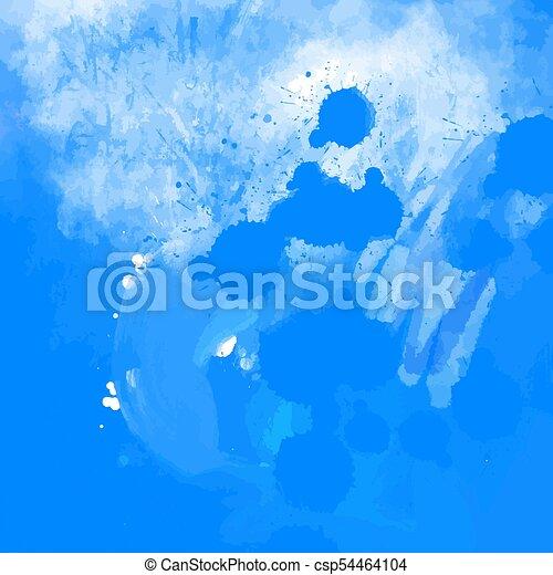 Blue grunge paint splatter background - csp54464104