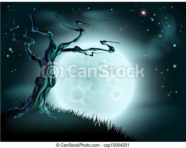 Blue Halloween Moon Tree Background - csp15004201