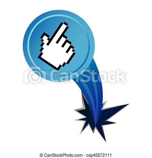 blue hand cursor with hole icon - csp45572111