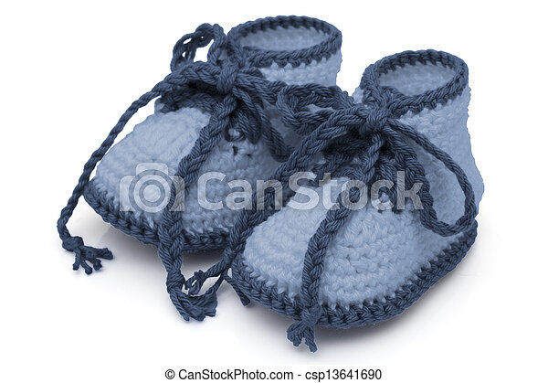 Blue Hand-made baby booties - csp13641690