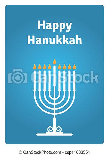 Blue Hanukkah card - csp11683551