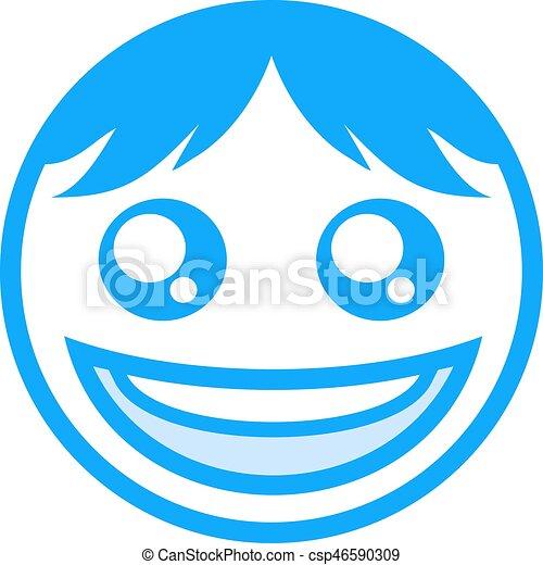 blue happy face icon - csp46590309
