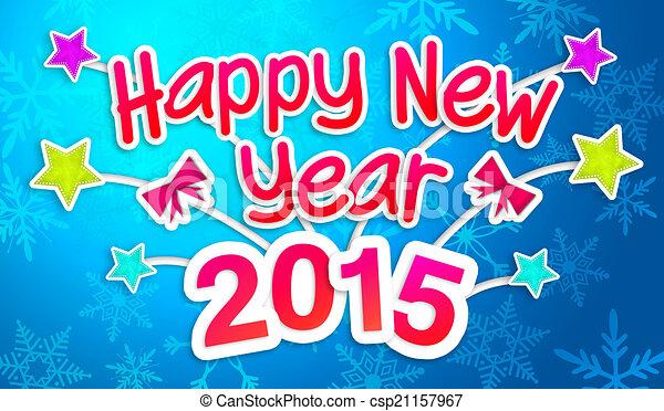 Blue Happy New Year 2015 Greeting - csp21157967