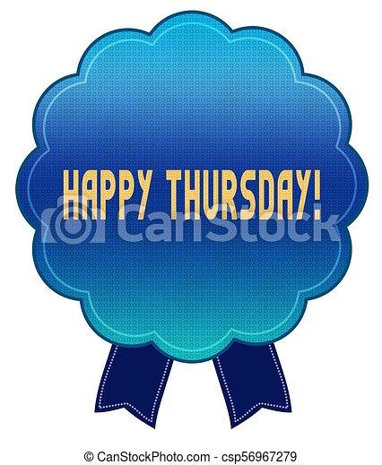 blue happy thursday ribbon badge illustration graphic stock rh canstockphoto ca happy thursday clip art images happy thursday clipart animated