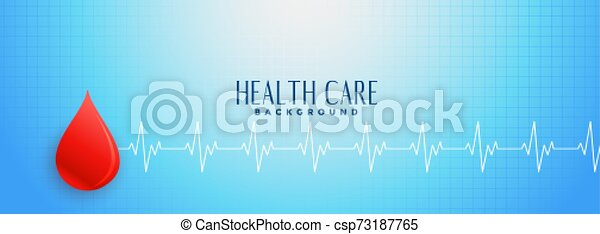 Blue Healthcare Banner With Red Blood Drop Concept
