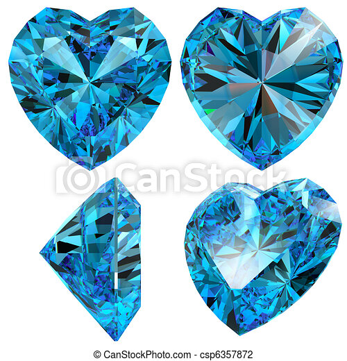 Blue heart diamond cut gem isolated - csp6357872