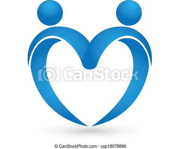 Blue heart love logo - csp18078896