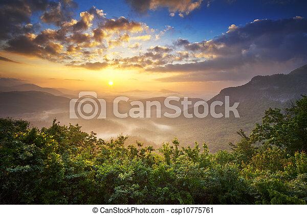 blue hegy, felvidékek, hegygerinc, nantahala, eredet, elkerüli figyelmét, déli, éc, erdő, színpadi, appalachians, napkelte - csp10775761