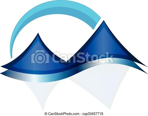 blue hegy, háló, vektor, jel, ikon - csp33457718
