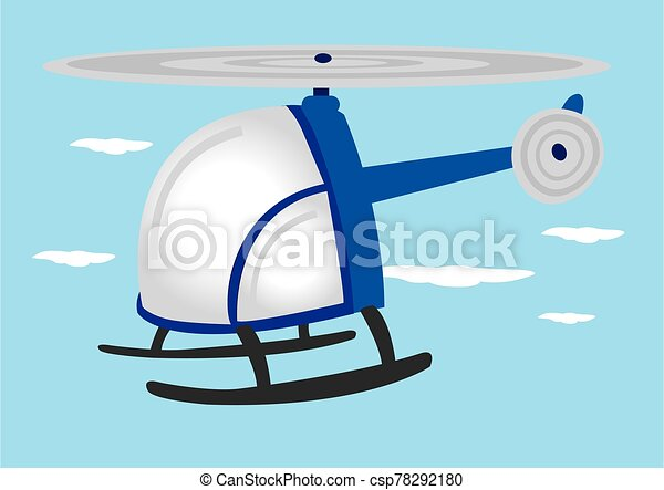 Blue Helicopter in the Sky Vector Cartoon Illustration - csp78292180