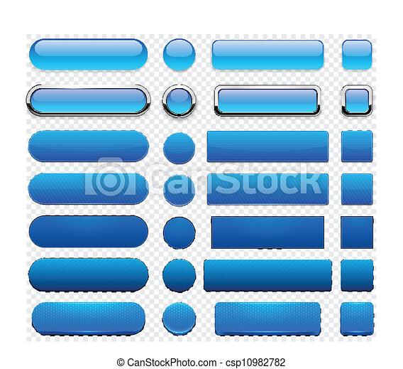 Blue high-detailed modern web buttons. - csp10982782