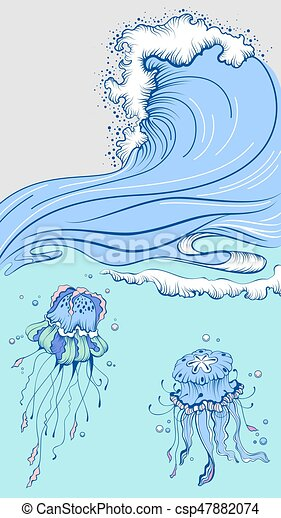 Blue high wave with foam cap. Two jellyfish in sea - csp47882074