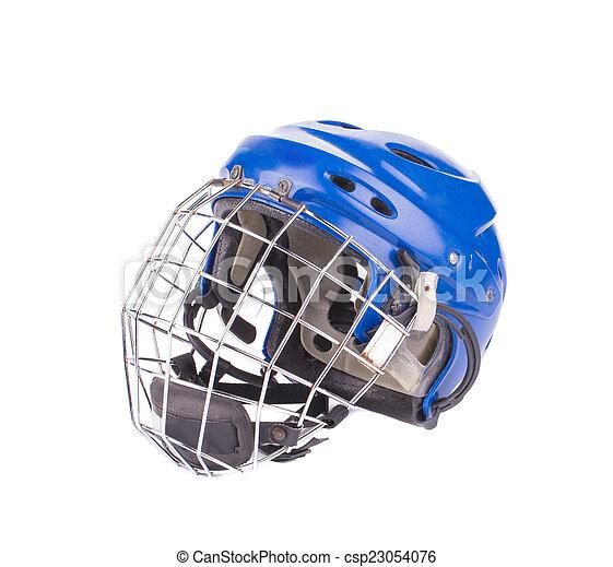 Blue Hockey Goalie Mask Isolated On A White Background