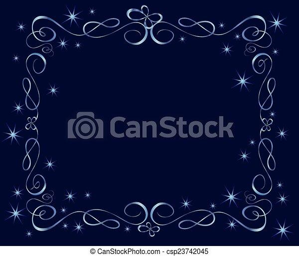 Blue holiday frame - csp23742045