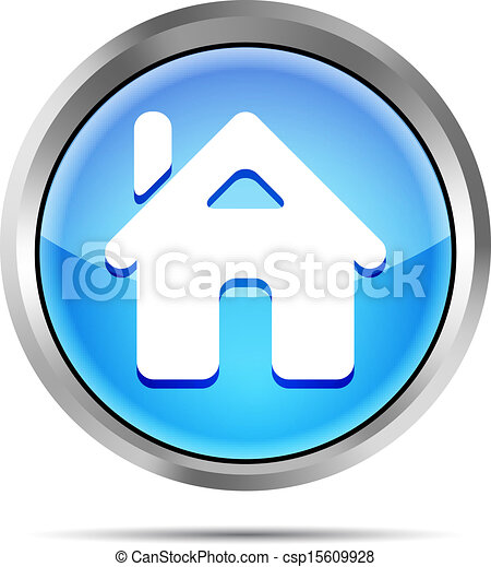 blue home button icon on a white - csp15609928