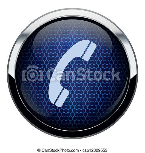 Blue honeycomb phone icon - csp12009553