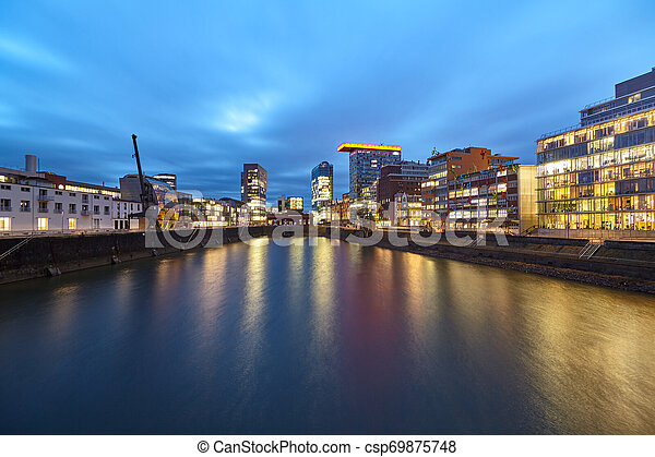 Blue Hour at Media Harbour - csp69875748