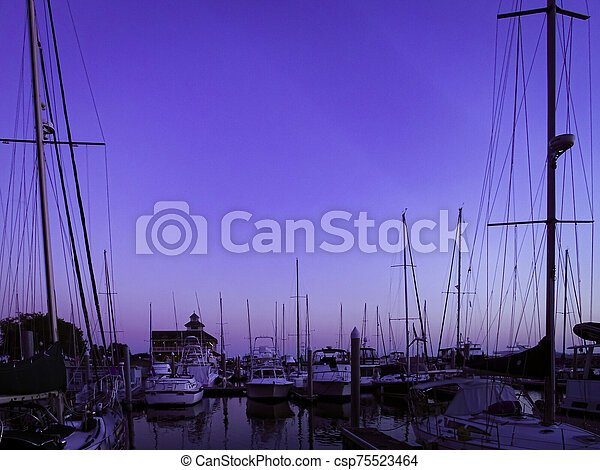 Blue hour at the harbor - csp75523464