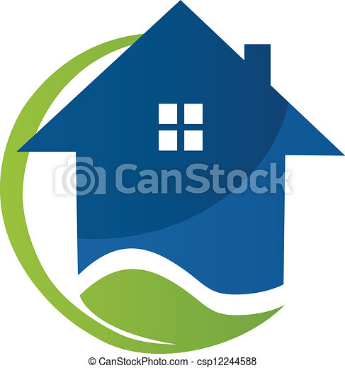 Blue house and leaf logo vector - csp12244588