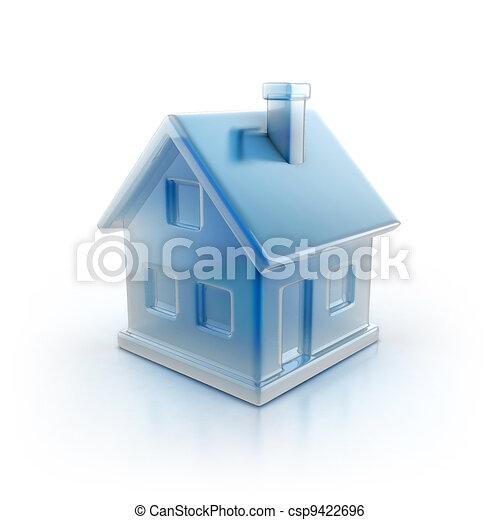 blue house icon  - csp9422696