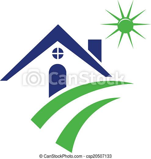 Blue house logo - csp20507133