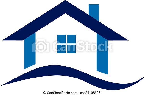 real estate blue house logo business design vector clipart search rh canstockphoto com house vector free house vector art