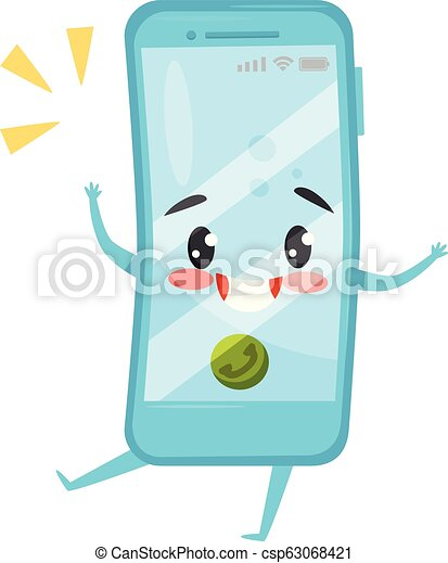 Blue humanized mobile phone with incoming call. Ringing smartphone. Cartoon character with happy face. Flat vector icon - csp63068421